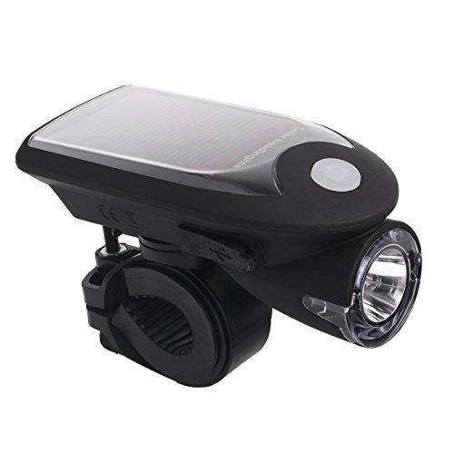 ZUOAO(ズオアオ)自転車ledライト200LM USB充電式ソーラーLEDライト 防水 1000MAH省エネ 4モード搭載 360角度回転可能