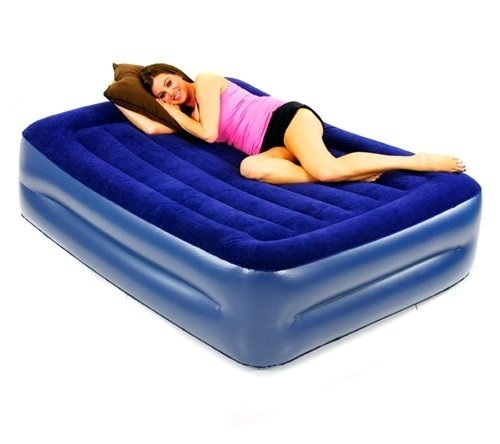 Smart Air Beds Deluxe Flock Top Raised Full Size Overnighter Air Bed with Built-In Pillow