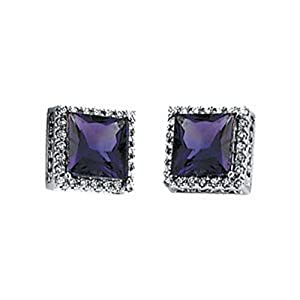 IceCarats Designer Jewelry 14K White 3/8 Ctw Diamond And Amethyst Earrings 14K White Gold