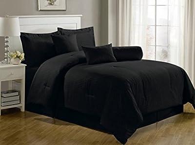 Chezmoi Collection 7-Piece Hotel Dobby Stripe Comforter Set