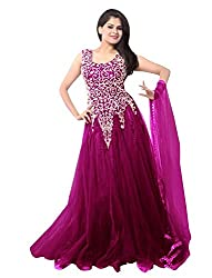 Fashion now & wow Women's net ethnic gown(Magenta)