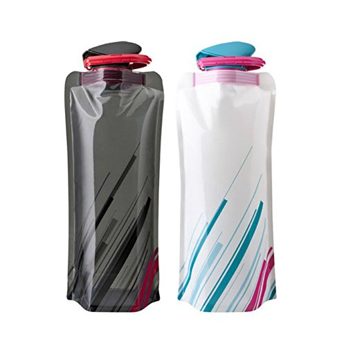 Portable Eco-friendly BPA Outdoor Collapsible Adventure Foldable Sport Water Bottle Bag for Traveling, Camping, Hiking, Walking, Running White Black ( 2 Pack ) (Water Cooler Cups 4 Oz compare prices)