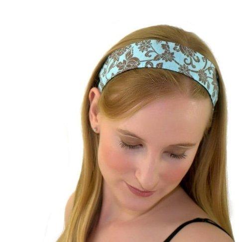 Skinny Headband, Hot Cocoa Flower Garden Over Light Blue, Beautiful Headband By Bargain Headbands