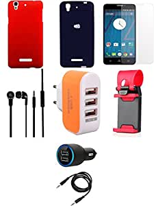 NIROSHA Tempered Glass Screen Guard Cover Case Car Charger Headphone Mobile Holder Charger car Combo for YU Yureka Combo