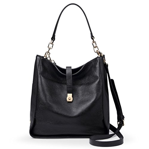 Qiwang Soft Genuine Leather Women HOBO Bag Leather European Shoulder Handbag Bucket Bag Black (Leather Italian Handbags compare prices)