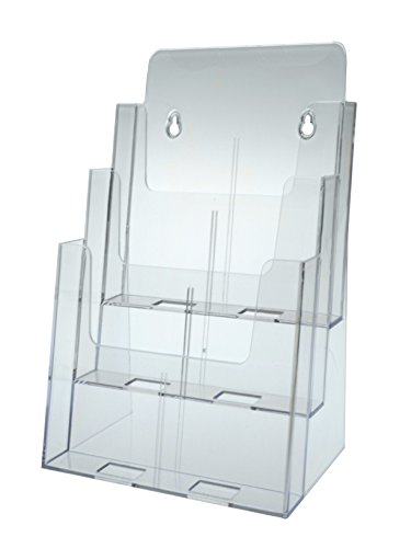 Three-Tier Magazine Holder, 9-1/2 quot;x8 quot;x12-5/8 quot;, Clear