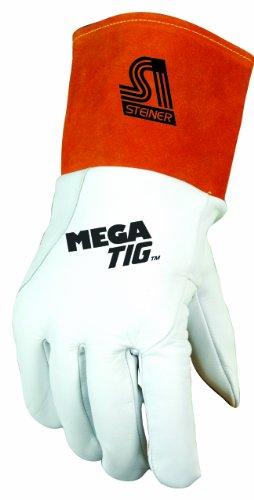 Steiner Mega TIG Gloves, Grain Kidskin, Foam Back, Unlined Palm, 4-Inch Cuff steiner mega tig gloves grain kidskin foam back unlined palm 4 inch cuff