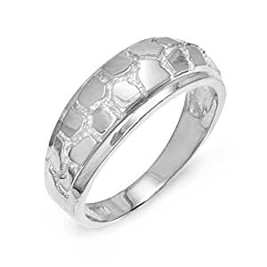 s solid 925 sterling silver textured band nugget