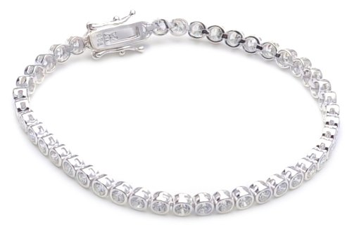 Silver Round White Cubic Zirconia Tennis Bracelet of Length 18.5cm