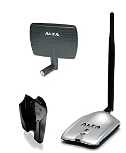 Alfa AWUS036H High power 1000mW 1W 802.11b/g High Gain USB Wireless Long-Rang WiFi network Adapter with 5dBi Rubber Antenna and a 7dBi Panel Antenna and Suction cup / Clip Window Mount - for Wardriving & Range Extension