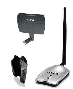 Alfa AWUS036H haute puissance 1000mW 802.11b 1W / g High Gain USB sans fil de longue Rang adaptateur réseau WiFi avec antenne 5dBi caoutchouc et une antenne panneau 7dBi et d'aspiration fenêtre tasse / Clip Mont - pour le wardriving et le plus fort * Extension de la plage sur le marché *