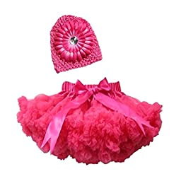 Buenos Ninos Girl\'s Tutu Pettiskirt With Peony Flower Hat Set Hot Pink 1-2T