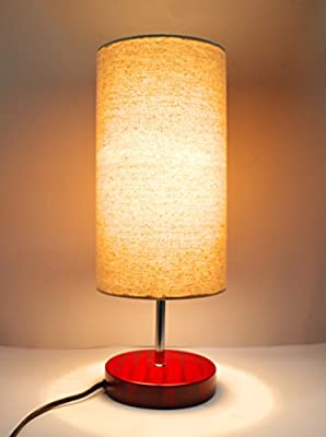 "17""H Mini Living Room Indoor Table Lamp Red Base"