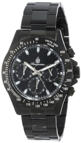 Burgmeister Houston Men's Quartz Watch with Black Dial Chronograph Display and Black Stainless Steel Plated Bracelet BM212-622A