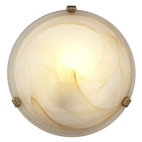 Brilliant 90103/20 - Applique/plafoniera in metallo e vetro, dimensioni: 30 x 30 x 9 cm, colore: Marrone