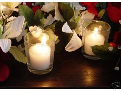 Spring Rose(TM) Clear Wedding Votive Candle Holder and White Unscented Candle (set of 12). These Are Perfect For Wedding Decorations Or Favors. A Must For Your List Of Party Supplies.