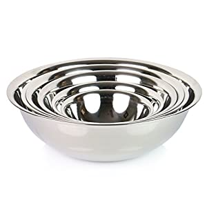 ChefLand Set of 6 Standard Weight Mixing Bowls, Stainless Steel, Mirror Finish, 0.75, 1.5, 3, 4, 5, and 8 Qt. (Mixing Bowl Set Of 6) by ChefLand