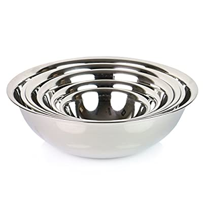 (Set of 6) ChefLand Mixing Bowls Standard Weight Stainless Steel, Mirror Finish, 3/4, 11/2, 3, 4, 5, and 8 Qt