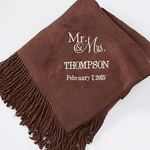 Personalized Brown Throw Blankets - Wedding & Anniversary front-945931