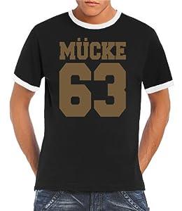 Touchlines Herren T-shirt Bud Spencer Mücke 63 Ringer  Kontrast, black/gold, S, B5161-Black/Gold-S