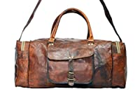 Vintage Bag Genuine Leather Travel Duffle Outdoor Luggage in Square Shape 28 inch
