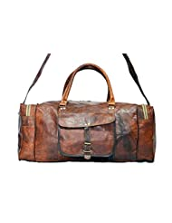 Real Goat Leather Handmade Travel Luggage Vintage Overnight Genuine Duffle Bag