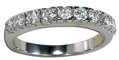 Eternity Ring - Half CZ Diamond Eternity Ring Style - Sterling Silver - Sizes J - T Available