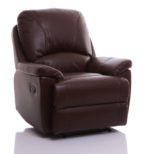 Global Furniture Alliance Worcester Nut Bonded Leather Fully Upholstered Recliner Chair, Brown
