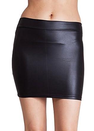 Black Shiny Liquid Mini Skirt Elastic Waist Band, Small