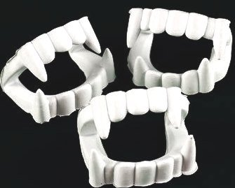 12 White Vampire Fangs, Plastic Teeth, Costume Accessory