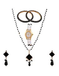 Akoyaa Pearls Combo Of Pearl Necklace Set & 1 Watch N 4 Pcs Bangle - B00YU5SDEQ