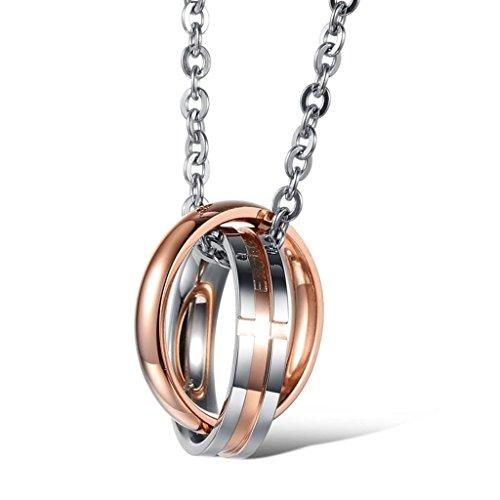 alimab gioielli in acciaio inox catena collane per lui o doppio anello, Acciaio inossidabile, colore: Rose Gold(Women), cod. Linmayitg772