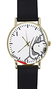 White Snoopy Custom Design Gold Dial and Black Leather Band Quartz Movement Watch By-Ccilu