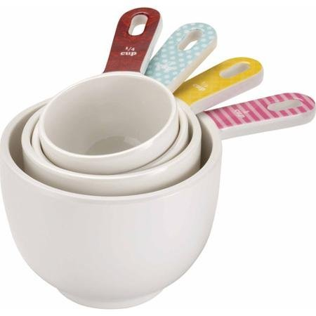 Set of 4 Melamine, Retro-Styled Measuring Cup with Detachable Ring, Multicolor