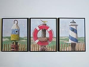 Plaques 3 Piece Set Bathroom Wall Decor Pictures Home Kitchen