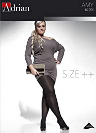 BLACK PLUS SIZE TIGHTS AMY 60 DENIER WITH SPECIAL COMFORTABLE GUSSET XL - XXXXL (5-8) BY ADRIAN