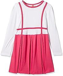 UFO Girls' Dress (AW16-KF-GK-348_Pink and White_2 - 3 years)
