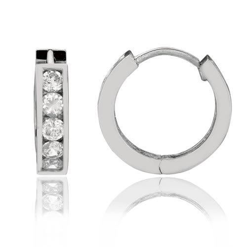 Sterling Silver CZ Channel Set Round Huggie Earrings (17 x 17 mm)