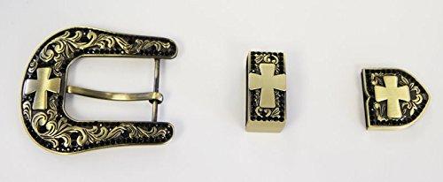"""Western Belt Buckle Set Antique Black Brushed Gold Cross 1 1/2"""""""