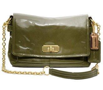 Coach Chelsea Patent Flap Shoulder Handbag Purse Bag 17854
