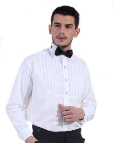 [Steampunk White Classic Victorian Men's Shirt, Size Large] (Victorian Era Mens Costumes)