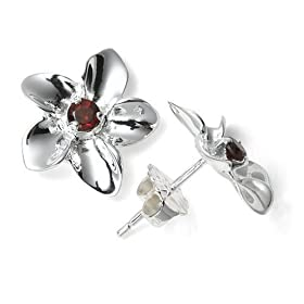 Sterling Silver and Garnet Flower Earrings by Zina from amazon.com