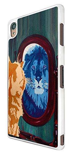 427 - Cool Cat Mirror Lion Design für Alle Sony Xperia Z / Sony Xperia Z1 / Sony Xperia Z2 / Sony Xperia Z3 / Sony Xperia Z4 / Sony Xperia Z1 Compact / Sony Xperia Z2 Compact / Sony Xperia Z3 Compact / Sony Xperia Z4 Compact / Sony Xperia M2 / Sony Xperia M4 Fashion Trend Hülle Schutzhülle Case Cover Metall und Kunststoff - Bitte wählen Sie Ihr Telefonmodell und Farbe aus der Dropbox