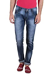 Routeen Blue Washed Slim Fit Mid Rise Cotton Jeans