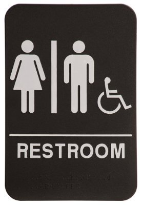 Unisex restroom sign black white ada compliant business for Unisex handicap bathroom sign
