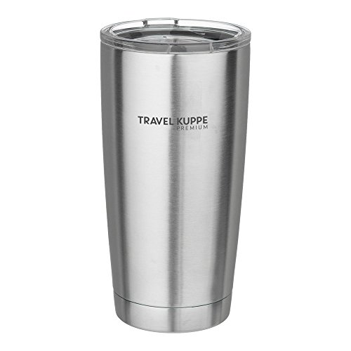 Travel Kuppe Premium 20oz - Vacuum Insulated Stainless Steel Tumbler Cup with Sip Lid - Keeps Hot & Cold Beverages 9 Hours Plus (Tested Up To 48 Hours) - Thermos Double Walled - Brushed Steel