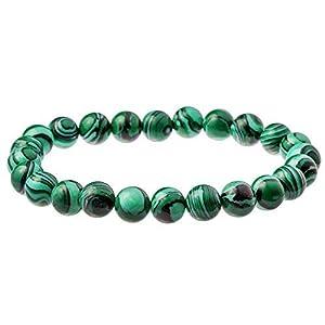 Men's Genuine Polished Green Malachite Gem 6mm Bead Bracelet by Urban Male