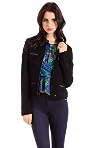 Romeo and Juliet Couture Casual Faux Pocket Half Coat in Black