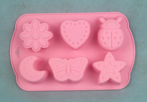 Jade Onlines 6-Cavity Adorable Insects Butterfly Moon Star Shaped Ice/Cake/Chocolate/Sugar Decorating Silicone Mini Cube Craft Fondant Mold Tray(Send By Random Colour)