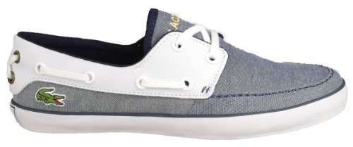 Lacoste Womens Boat Shoes Karen SSR Dk Blue White Canvas 5.5 B(M) US